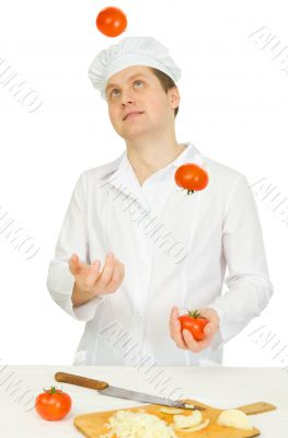 Funny cook with tomato