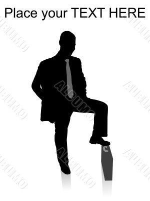 man keeping his leg on briefcase