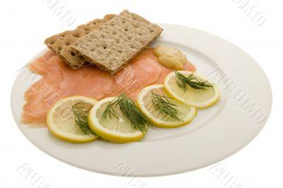 Salmon fillet on plates