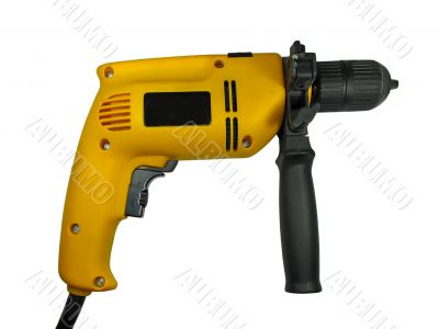 yellow construction hand drill isolated over white background