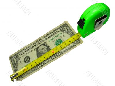crisis: measuring tape over us dollar currency isolated on white