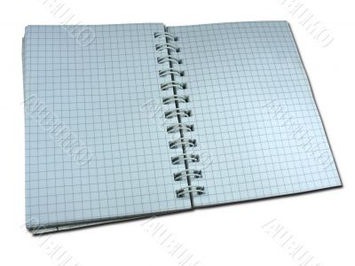 opened blank squared notebook isolated over white background