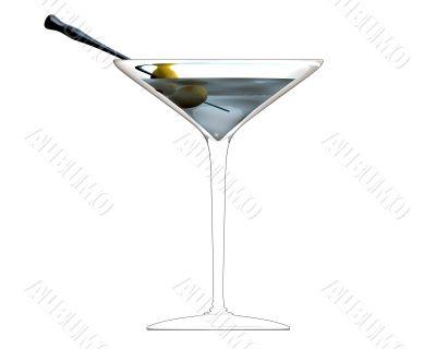3D illustration of cocktail glass