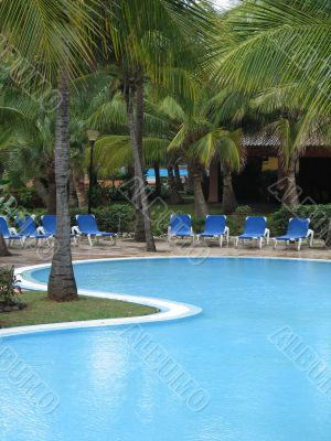 large blue water pool