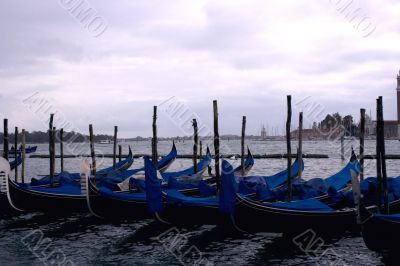 Several gondolas being parked