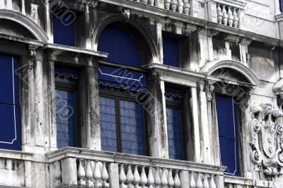 Windows of an old medieval house in Venice