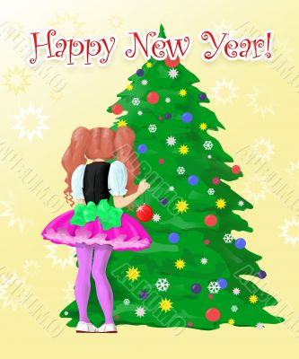 girl  decorate New Year`s tree