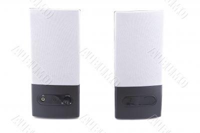 black desktop speakers