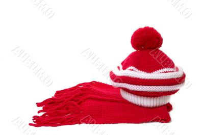 Warm knitted scarf and hat.
