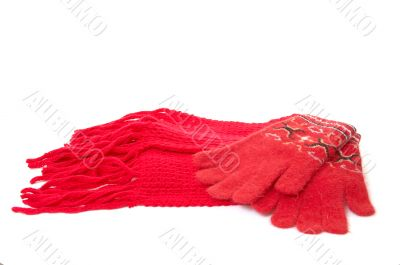 Red gloves and scarf.
