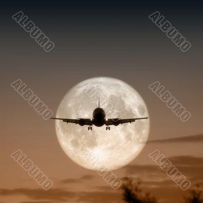 air plane full moon