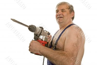 Worker with drilling machine