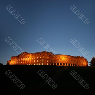 illuminated castle of Wilhelmshoehe