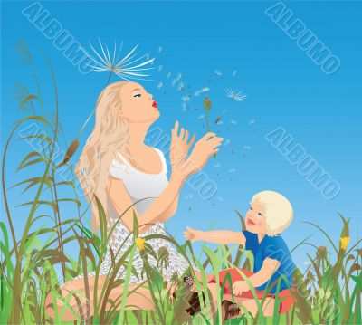 Mom, little-one and the dandelions
