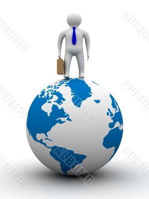 businessman on globe. Isolated 3D image. White background