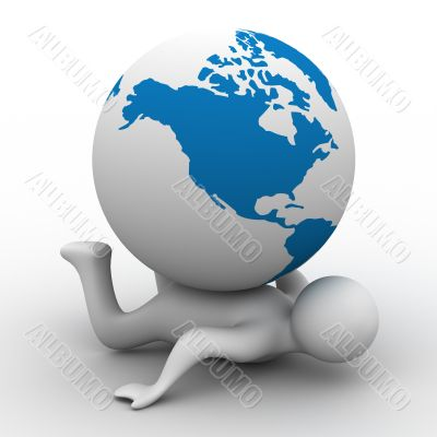 Globe laying on the person. Isolated 3D image.