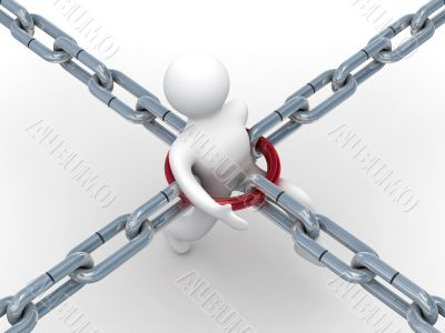 person ground in a chain. 3D image on white background.