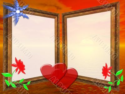 Frame for wedding, Anniversary or valentine`s day invitations with sunset background.