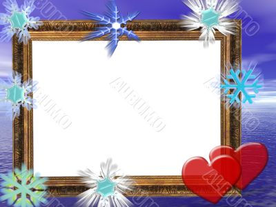 Frame for wedding, Anniversary or valentine`s day invitations with blue background.
