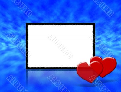 Frame for wedding, Anniversary or valentine`s day invitations with blue abstract background.