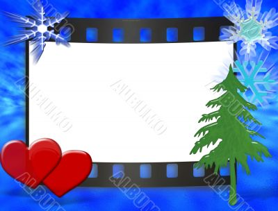Frame for wedding, anniversary, cristmas or valentine`s day invitations with blue ocean and sky background.