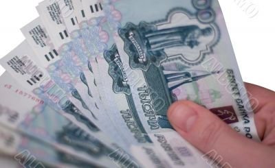 hand with rubles