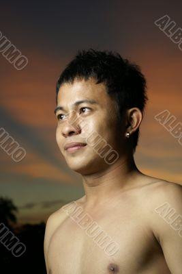 Asian man portrait outdoors