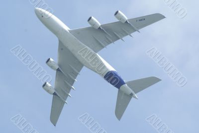 Airbus A380 underside in flight