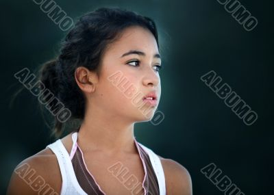 Asian unhappy teenage girl