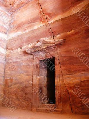 Ancient door in temple of Petra