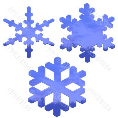 set of blue, glass effect snow flakes over white
