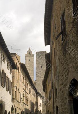 San Gimignano (Siena) - Street and two towers
