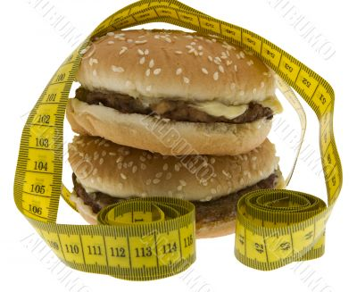 Fast food, Hamburger with measuring tape
