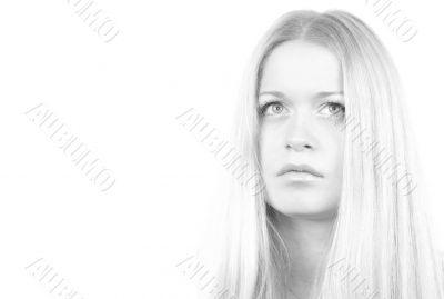 monochrome portrait of woman