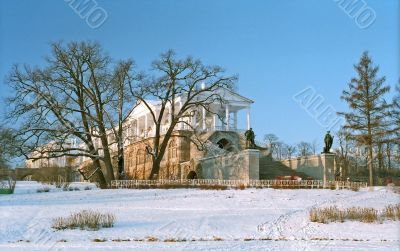 Classical gallery building in winter