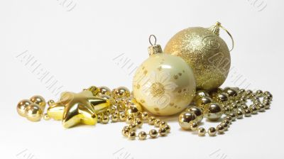 golden christmas balls and golden star