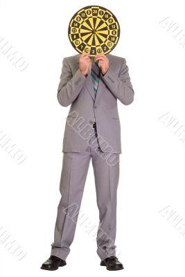 Businessman Hiding Behind Dartboard