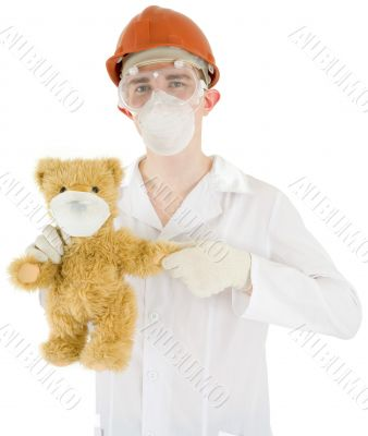Scientist with bear