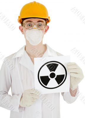 Scientist with poster radiation