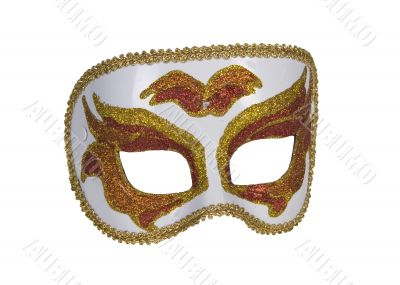 gold italian carnaval mask for perfomance