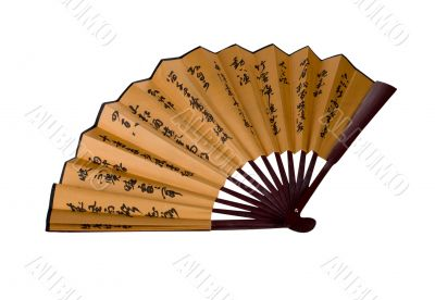 traditional asian hand fan with hieroglyphes