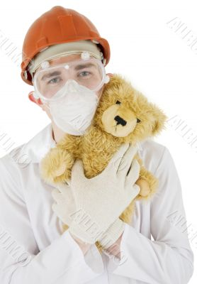 Scientist and toy bear