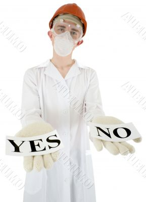 Scientist with posters yes and no