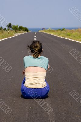 Woman in road