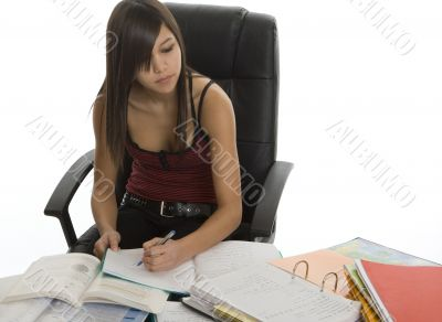 School, female student when studying