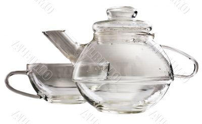 A transparent glass tea-set