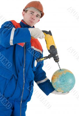 Laborer with hand drill and globe