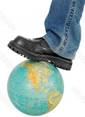 Boot on globe