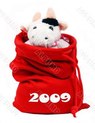 Cow In Santa`S Bag 2009