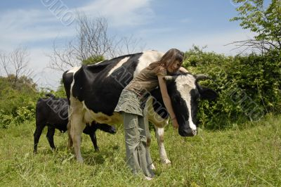 teen and cow
